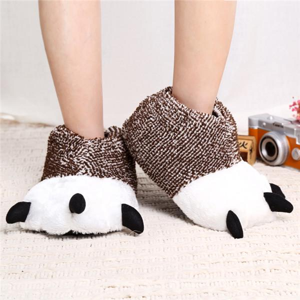 Mlotus Grey Animal Bear Paw Claw Slippers for Men and Women