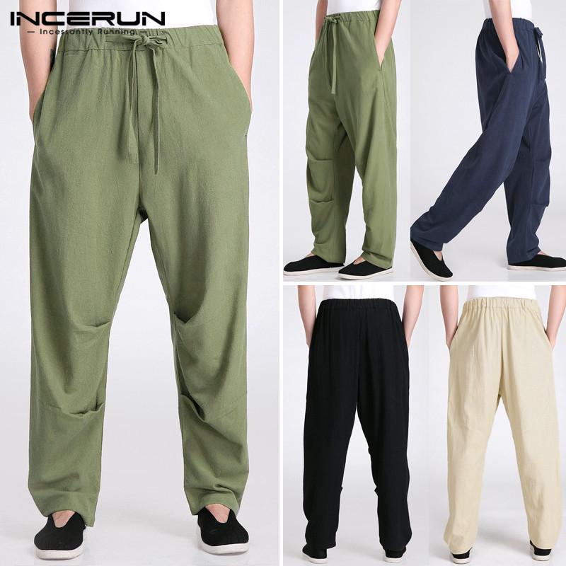 Mens Linen Casual Loose Drawstring 3//4 Lenght Short Trousers Pants Cotton Solid