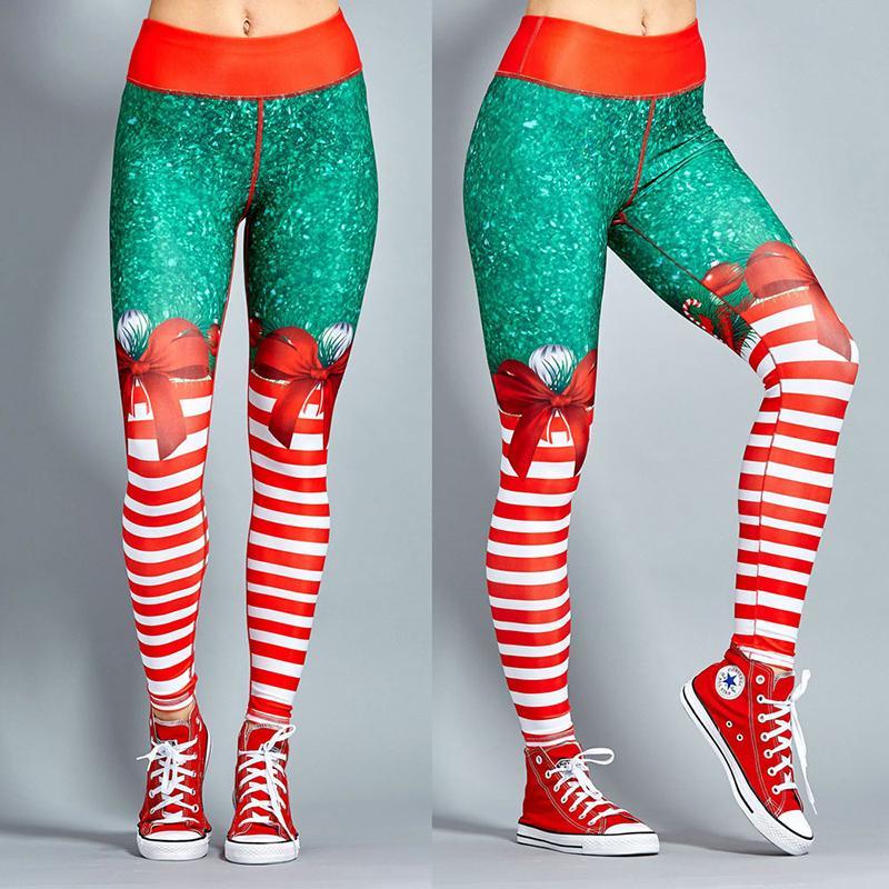 Women 3D Printed Christmas Yoga Leggings Xmas Pencil Pants Workout Gym Trousers