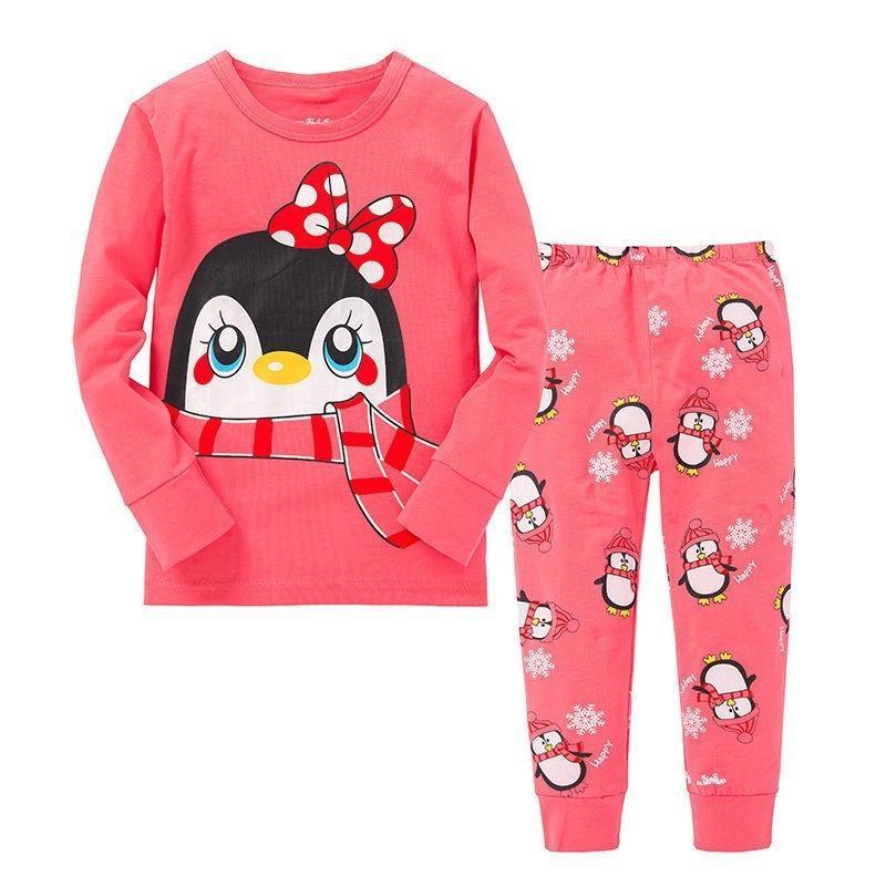 童装新款套装欧美风格纯棉中小童可爱女孩卡通图案家居服厂家直批