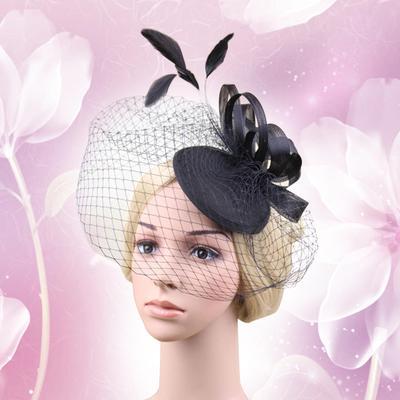 Women Flower Feather Net and Veil Hat Wedding Party Hair Clip Headdress df85fef8f22