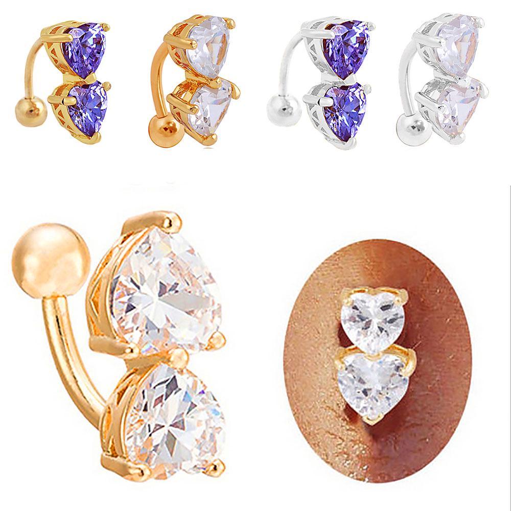 Двойные сердца кристалл Rhinestone пирсинг пупка кольцо пупка ювелирных изделий фото