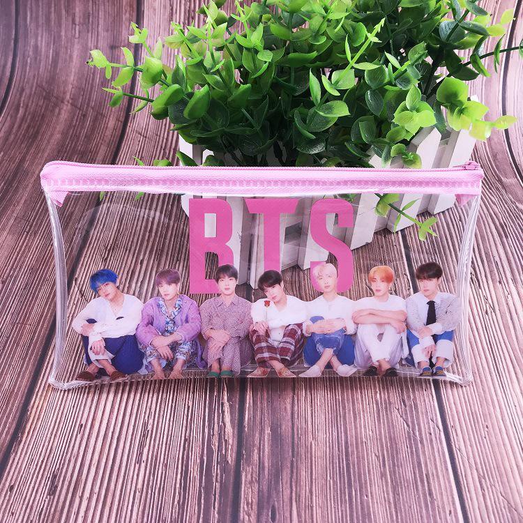 Прозрачный пенал для карандашей с изображением группы BTS фото
