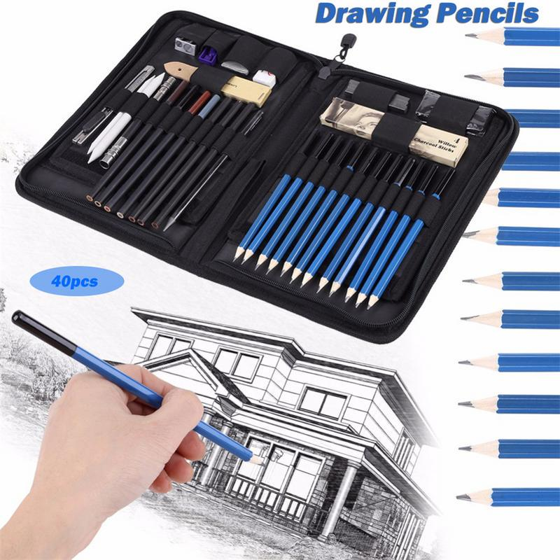 33//40//48Pcs Professional Drawing Charcoal Pencils Art Painting Sketch Tools Gift