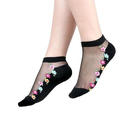Women Girls Lace Crystal Glass Silk Long Thin Transparent Roses Flower Socks T