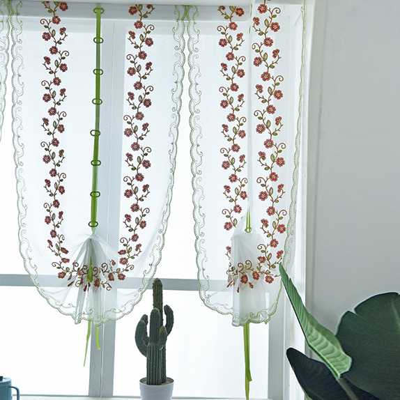 Organza Embroidery Pattern Flowers, Balloon Curtains For Living Room