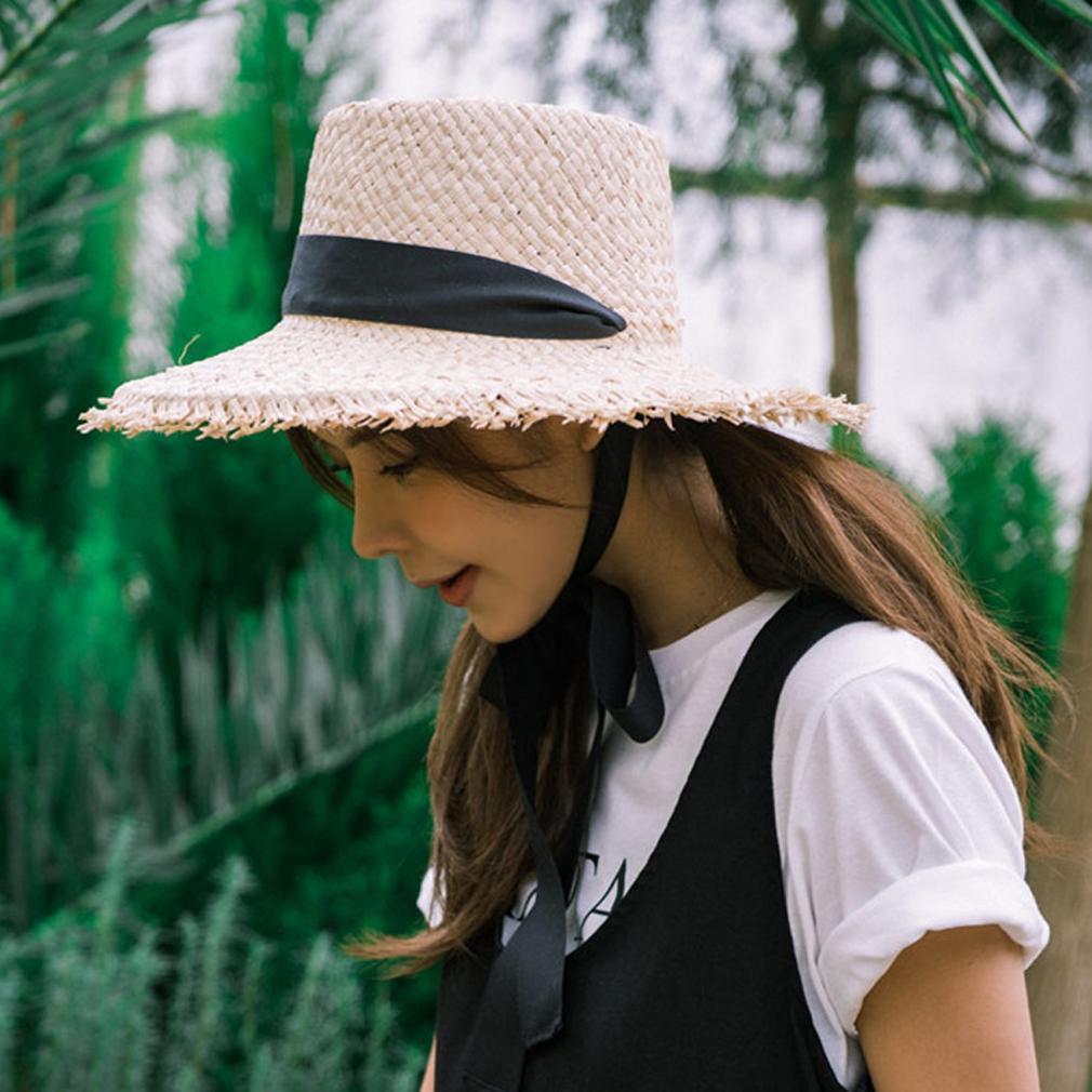 Adult Women Hat Large Floppy Brim Ribbon Laced Sunhat Foldable Beach Summer Hats
