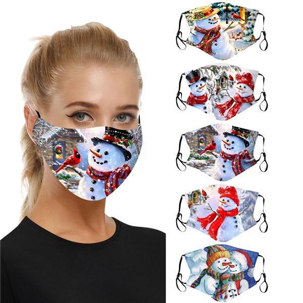 5PCS Adjustable Face Balaclavas Reusable Cute Christmas Printed Pattern Cartoon Breathable Face Covering for Women,Men,Kids