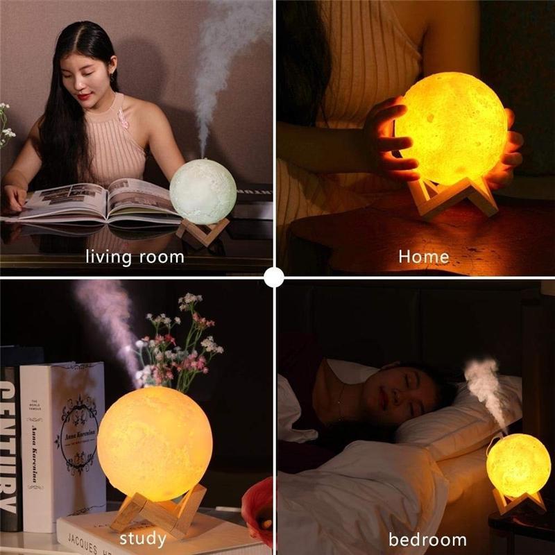 880ML humidificador de aire 3D Luna lámpara difusor Aroma aceite ...
