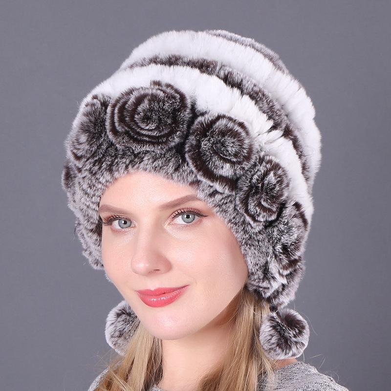 Hat Тепло Утолщение Earmuffs Мех Кролик Шляпа Осень Зимняя круглая шляпа Woven Шерстяная шляпа фото