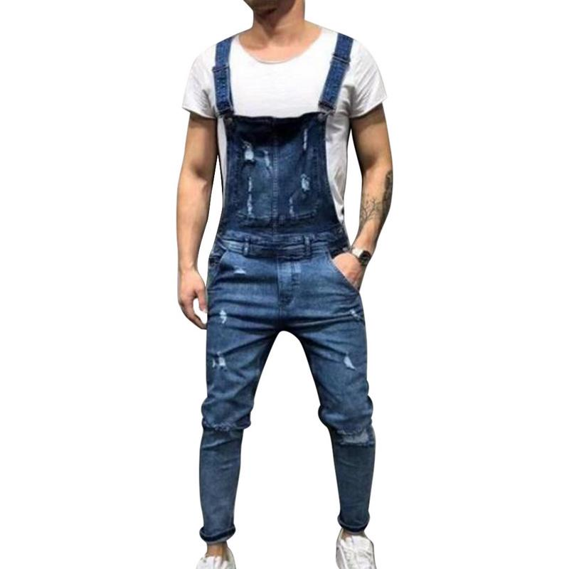 Womens Adjustable Strap Jeans Jumpsuits Casual Denim Bib Ripped Overalls Pant Jeans