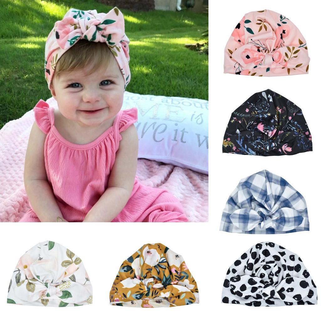 Newborn Baby Infant Toddler Girl Stripe Bowknot Beanie Hat Comfy Cap Nice Gift