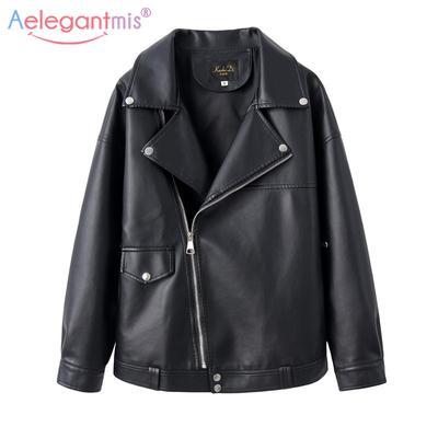 Women PU Leather Biker Jacket Coat Short Punk Motorcycle Jacket  Lapel Outwear