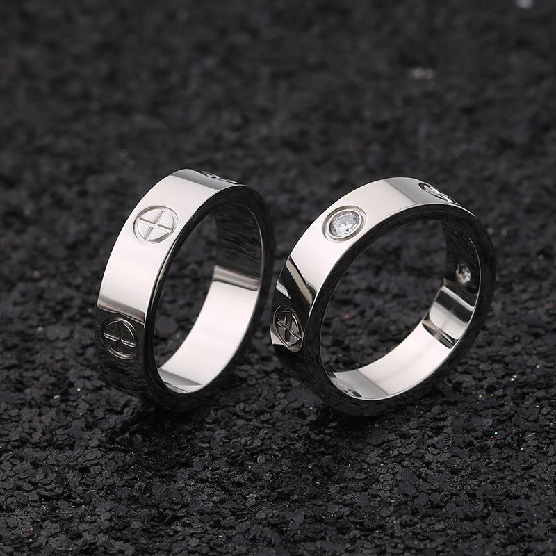 Мужчины женщины винт Diamond группы пара любителей титана кольцо из нержавеющей стали фото