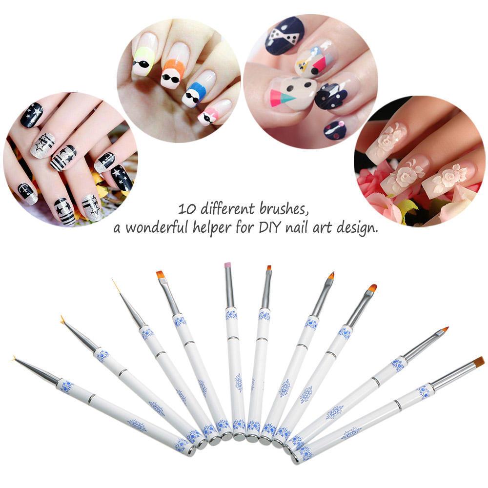 Anself uñas pluma de arte diseño conjunto 10Pcs punteado Pintura ...