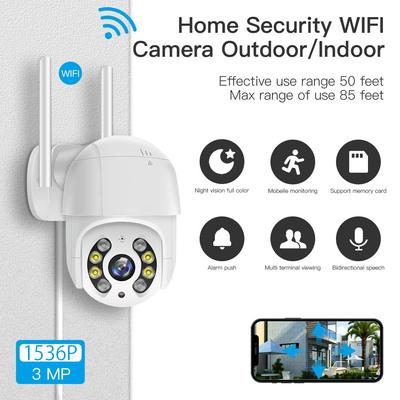 3 MP Security Camera Outdoor,Color Night Vision, pan/tilt/zoom,Two-way Audio,Waterproof,Alarm,Auto Tracking