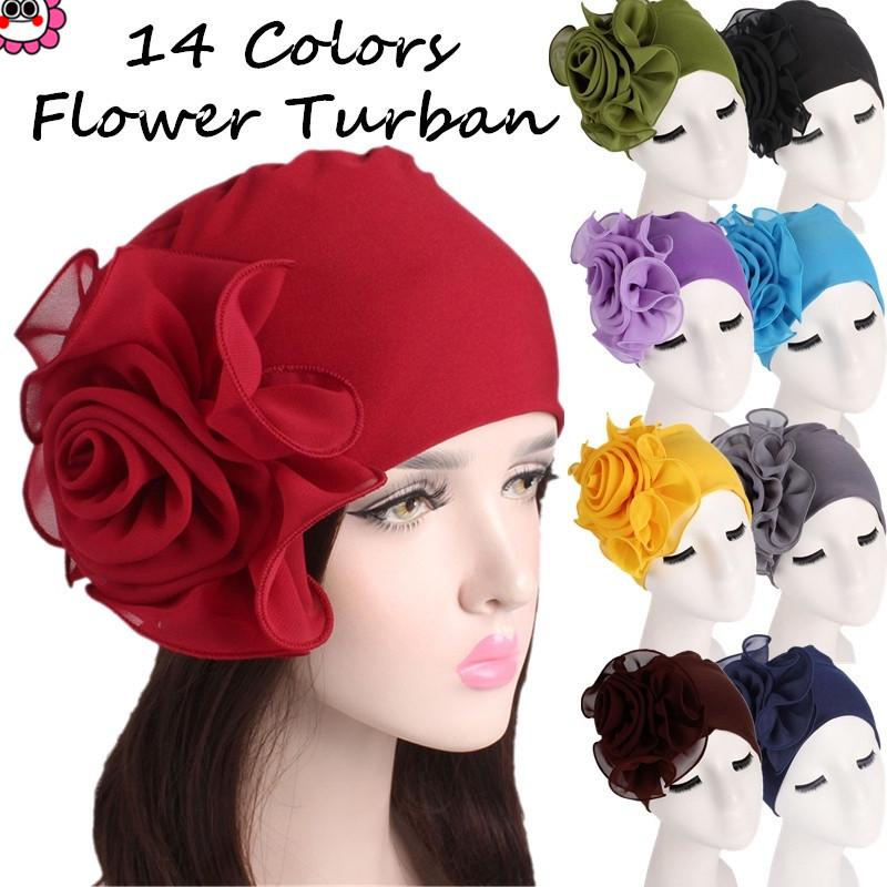 650ad27970f96a Women Ladies Retro Big Flowers Hat Turban Brim Hats Pile Cap-buy at a low  prices on Joom e-commerce platform