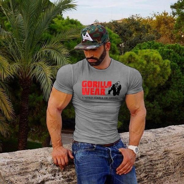 2017夏季跨境男装大猩猩男士健身运动圆领纯棉T恤厂家直销全球