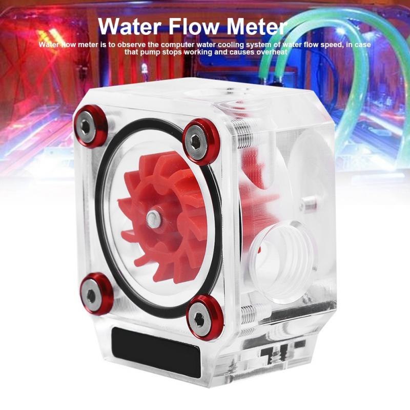 1Pc PC Water Cooling Flow Indicator Meter Copper Acrylic 3 Ways G1//4 Threaded