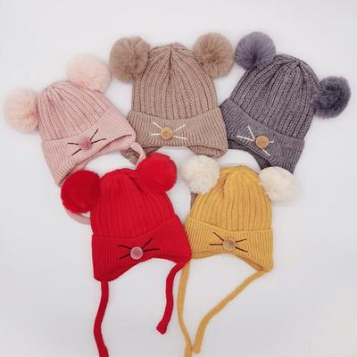 Plush Balls Winter Hats Pearl Crochets Baby Knitted Little Scorpion Pom Pom Caps