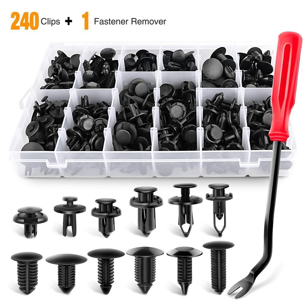 240PCS бампер retainer клипы автомобиль Пластиковые застежки Push Retainer Kit Auto Push Pin Rivets Set – купить по низким ценам в интернет-магазине Joom