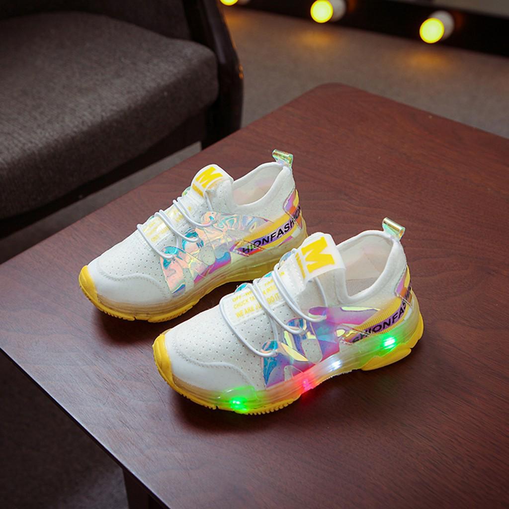 Kid Baby Girls Boys Striped Bling Flat Led Luminous Sport Running Sneaker Shoes