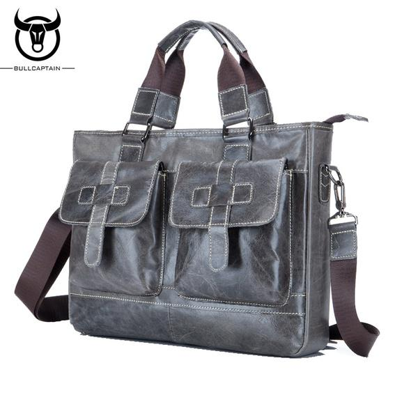 5bf2f9fb99bd BULLCAPTAIN воловьей кожи портфель /Real кожа Ретро Мужская мода сумка сумка/вскользь  бизнес – купить по низким ценам в интернет-магазине Joom