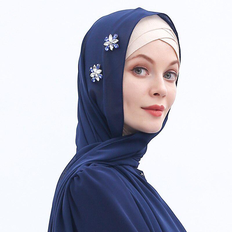Fashion Muslim Ladies Beaded Turban Islamic Pleated Chiffon Hijab Caps Scarf