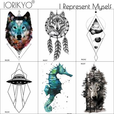 6 Pieces Lot Diy Wolf Fake Temporary Tattoos Sticker Geometric Waterproof Tattoo Paper Body Art Arm Buy At A Low Prices On Joom E Commerce Platform