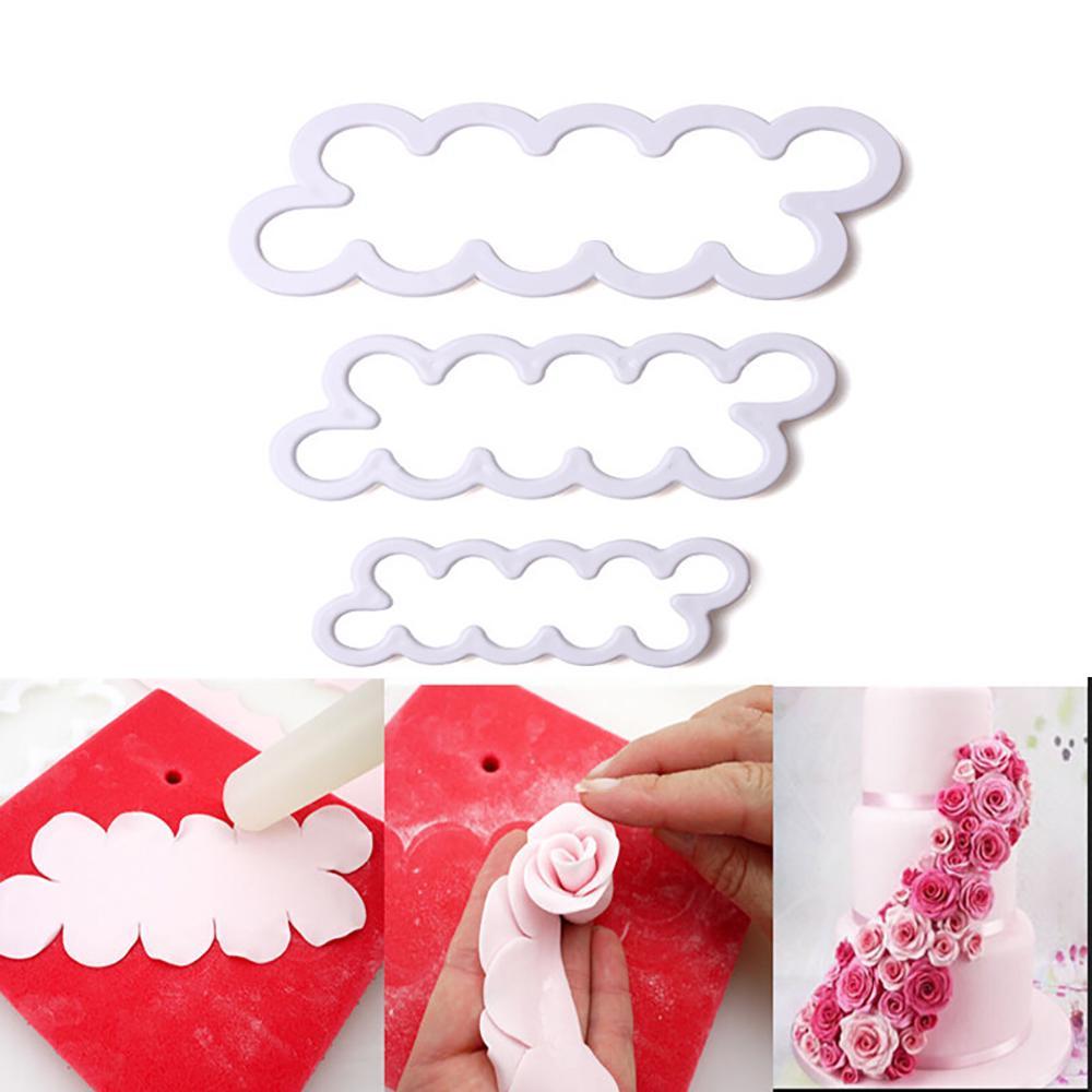 3Pcs//Set 3D Rose Petal Flower Cake Cutter Fondant Tools Mould Decor M6E5