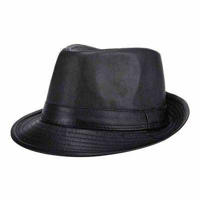 4e1426b9f46 Brand Caps PU Fedora Hat For Men Classic England Style Black Casual Fashion Jazz  Hats Vintage
