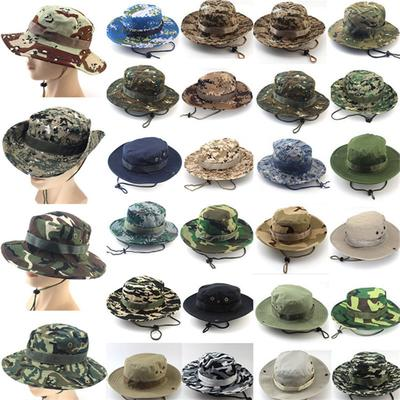 Camo Bucket Hat Military Wide Brim Sun Fisherman Cap Summer Men Women Boonie with String