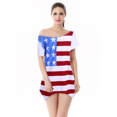 Women Summer fashion Casual American Flag Short Sleeve