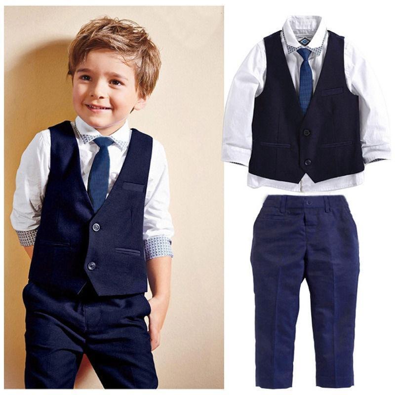 6af679440cbd Nuovo bambino bambini Boys Smoking abito camicia gilet cravatta ...