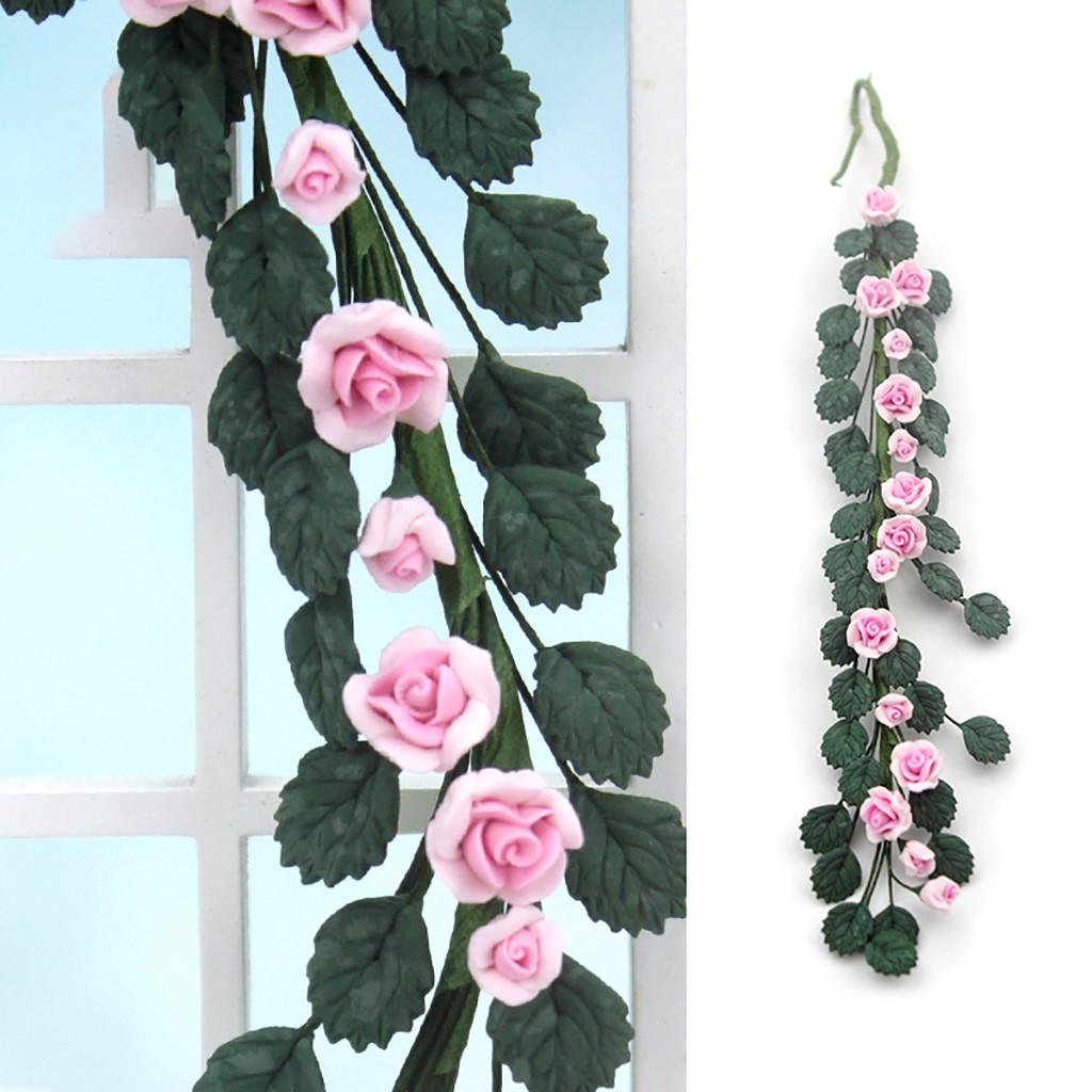 1Pc 1:12 Miniature Dollhouse Rose Flower Vine Doll House Decor Accessori xx48