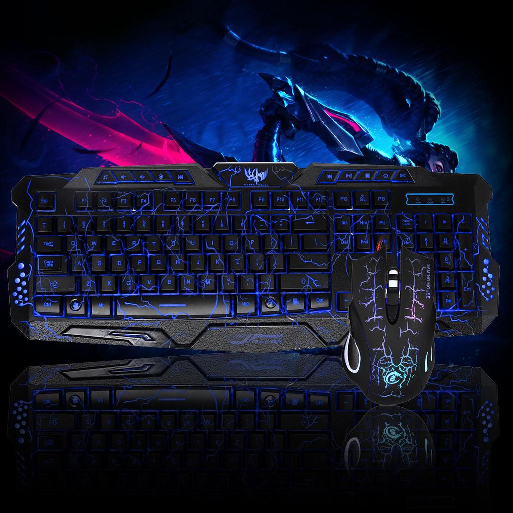 LED Gaming Wired 2.4G Keyboard and 5500DPI Mouse Computer Multimedia Gamer