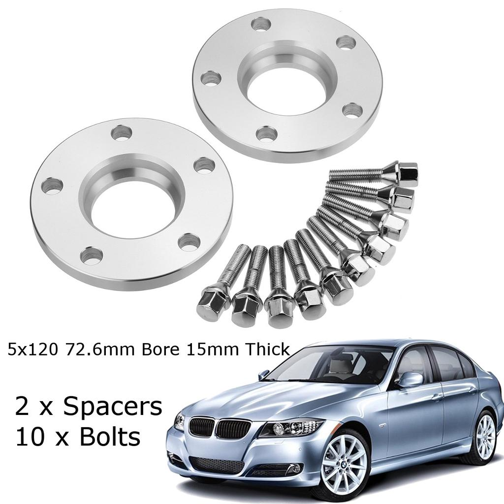 Wheel Spacers 1pr 15mm with Bolts and Locking Bolts for BMW 5 Series E39 Alloys