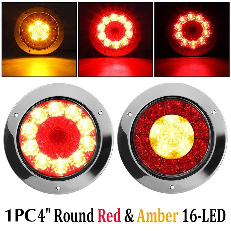 "2x Red 24LED Truck Trailer Stop Turn Tail Brake Lights 4/"" Round w//Stainless Ring"