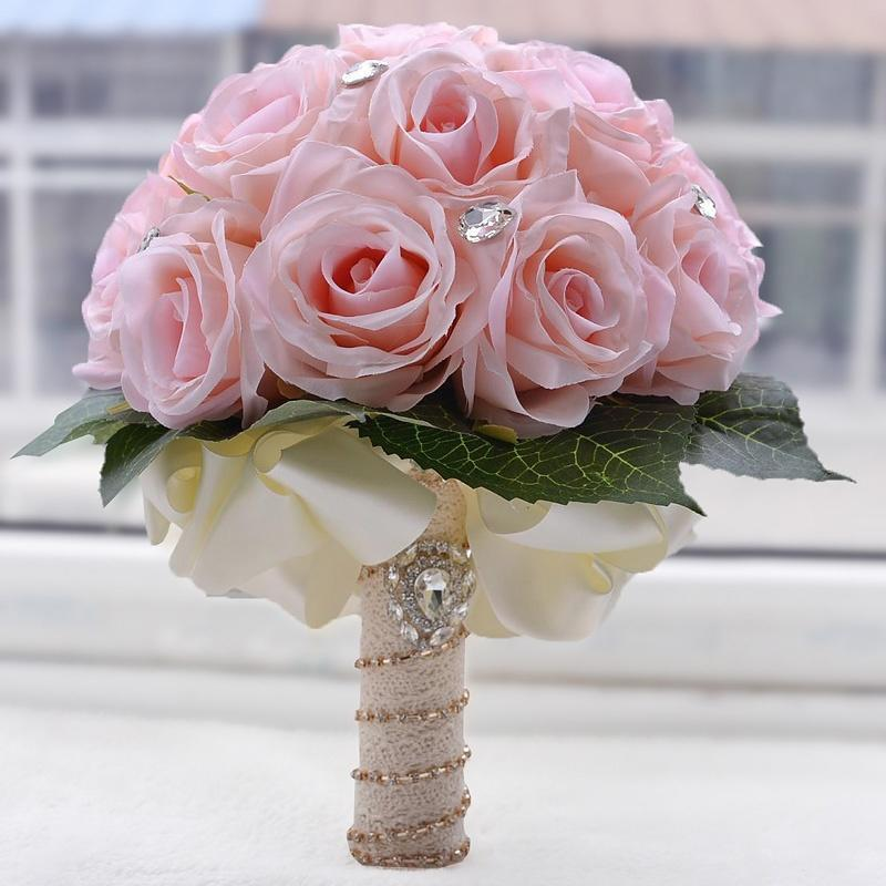 Dried Flowers Hand Bouquet Emulational Silk Roses Bridal Bouquets ...
