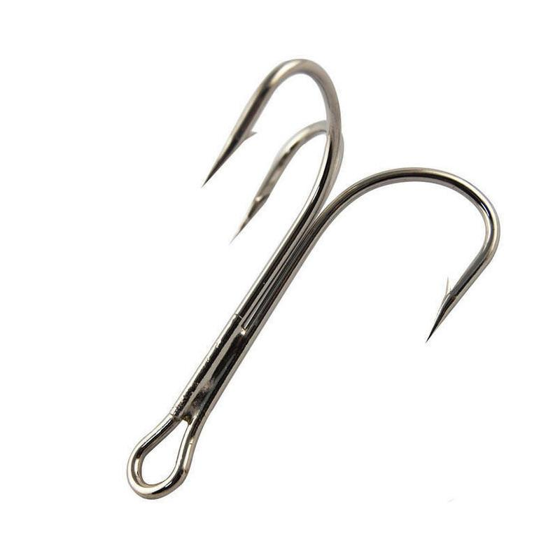 Saltwater And Freshwater Fishing 3//0 Steel Round Bent Treble Hooks Black 100pcs