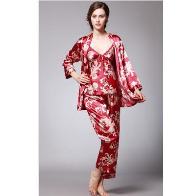 8e5e75c1af 3 pcs robe pajama pants sets nightwear ladies lounge dragon print ...