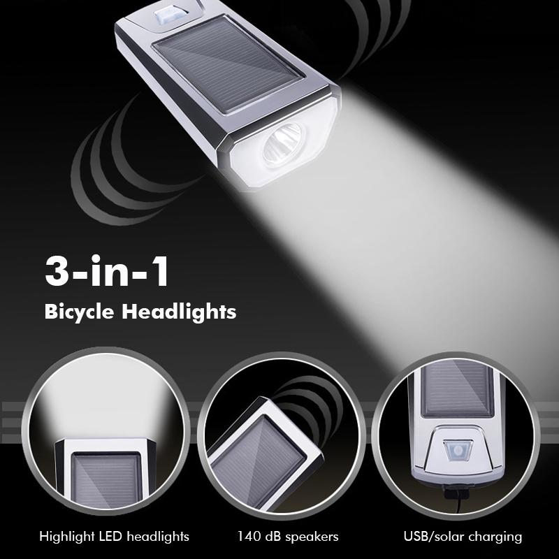 Details about  /Solar Powered USB Rechargeable LED Bicycle Headlight Bike Head Lamp Light w//Horn