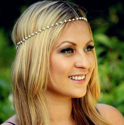 New Women Head Chains Jewelry Fashion Black Elastic Band Forehead Gold Metal Bow