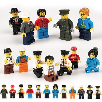 12 Pcs/set DIY Figures City PoliceMan Fireman magician Blocks Nurse Building teacher Toys Kids