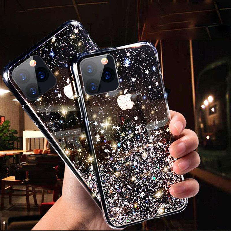 Bling Glitter Star Silicone Case For iPhone 12 MINI 12 Pro Max 11 Pro X XS XR 7 8 6 Plus SE 2020 Shining Sequin Soft Clear Back Cover