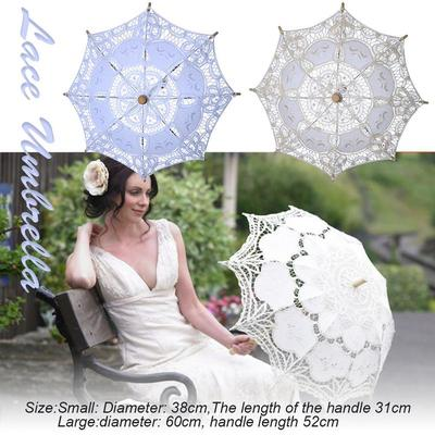 Hollow Out Embroidery Lace Solid White Color Romantic Photo Props with Wood Handle,Wedding Flower Girl Wooden Handle Hollow Out Lace Umbrella Photography Props Crafts