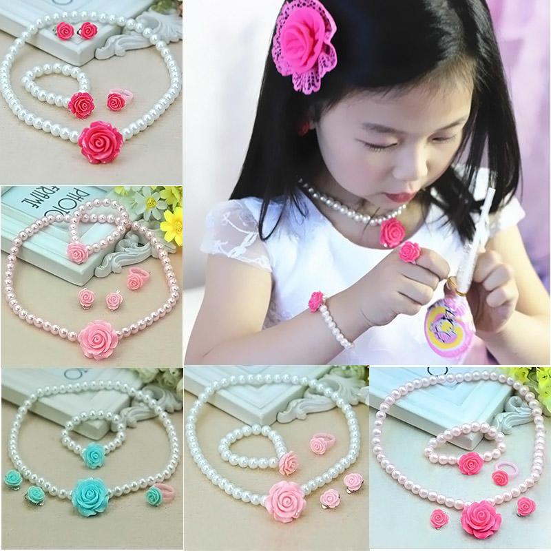 f786531b6c0c Niños niñas niño flor perla forma collar + pulsera + anillo Ear ...
