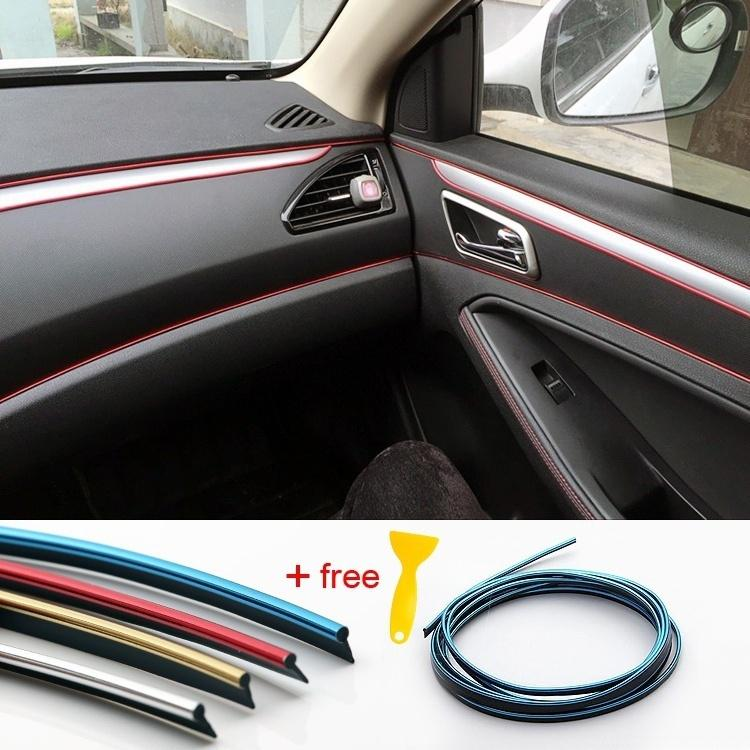 5M Gold Car Auto Interior Molding Trim Insert Decor Strip Line Gap Chrome Filler