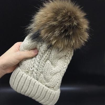 Womens hats Add Raccoon Fleece Inside Beanies Winter Hats for women 100%  velvet Fur Pompom 702365a41c9