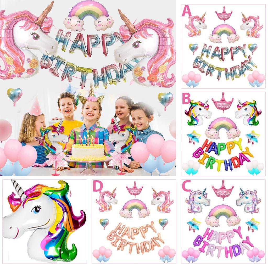 Unicorn Fantasy Horse Kids Birthday Party Supplies Balloons Set Decoration Girl